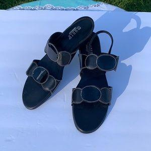 Munro Black Circle Heeled Sandals with Strap 8.5